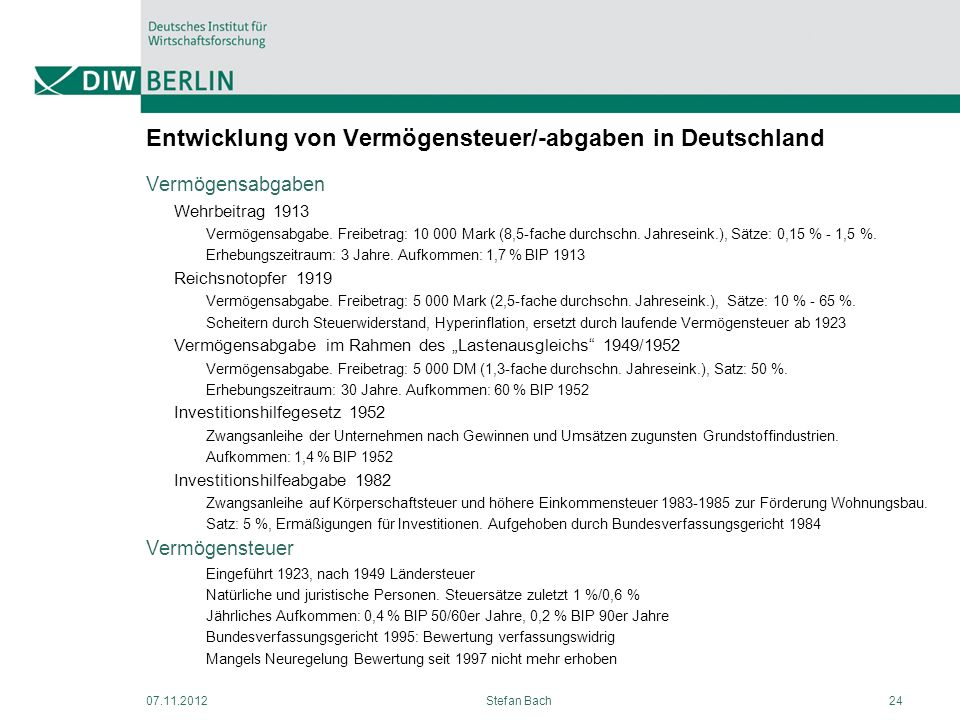 Entwicklung von Vermögensteuer/-abgaben in Deutschland Vermögensabgaben Wehrbeitrag 1913 Vermögensabgabe. Freibetrag: 10 000 Mark (8,5-fache durchschn
