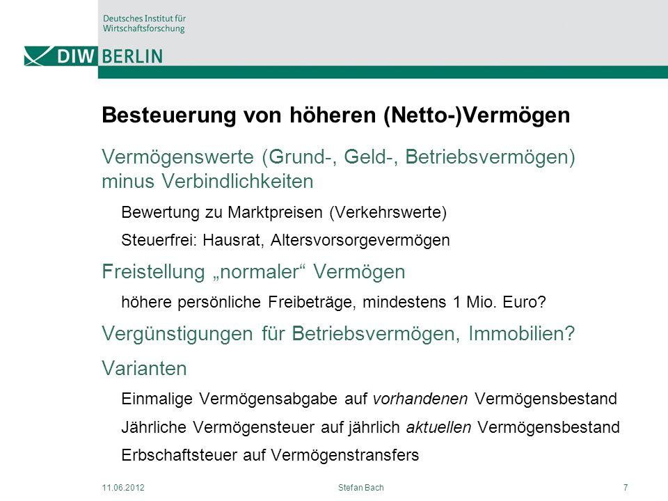 11.06.2012Stefan Bach7 Besteuerung von höheren (Netto-)Vermögen Vermögenswerte (Grund-, Geld-, Betriebsvermögen) minus Verbindlichkeiten Bewertung zu
