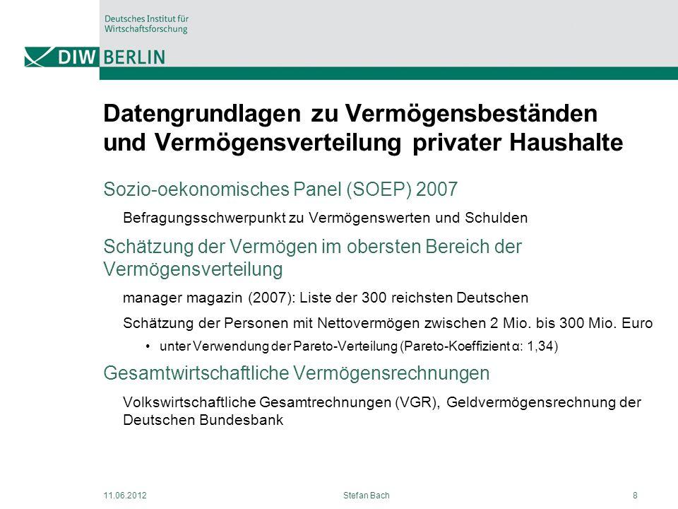 11.06.2012Stefan Bach8 Datengrundlagen zu Vermögensbeständen und Vermögensverteilung privater Haushalte Sozio-oekonomisches Panel (SOEP) 2007 Befragun