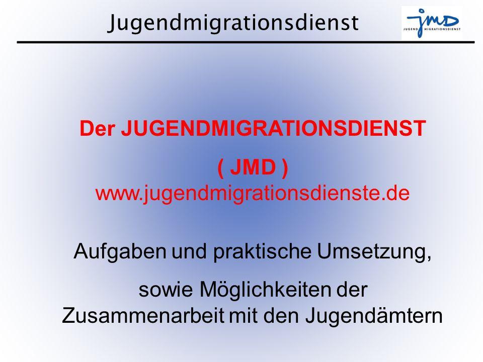 Jugendmigrationsdienst 2 Nach den neusten Studien wird Ende 2012 der Anteil von Menschen mit Migrationshintergrund in Deutschland 20% und bereits im Jahr 2035 50% betragen.