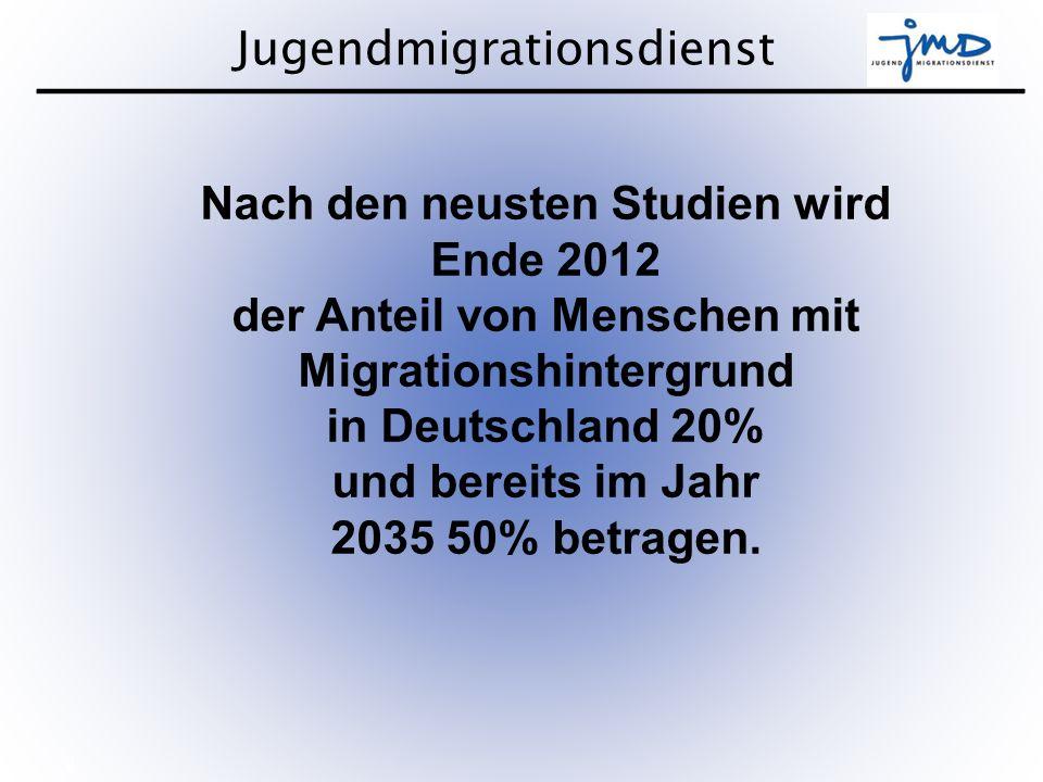 Jugendmigrationsdienst 3 Bundesweit rund 420 JMDs Beraten Begleiten Bilden 50.000 junge Menschen mit Migrationshintergrund bei 800 hauptamtlichen Mitarbeitenden * Quelle BMFSFJ