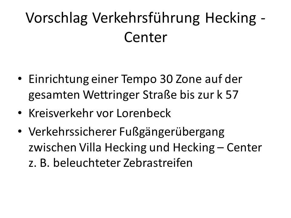 Vorschlag Verkehrsführung Hecking - Center Einrichtung einer Tempo 30 Zone auf der gesamten Wettringer Straße bis zur k 57 Kreisverkehr vor Lorenbeck