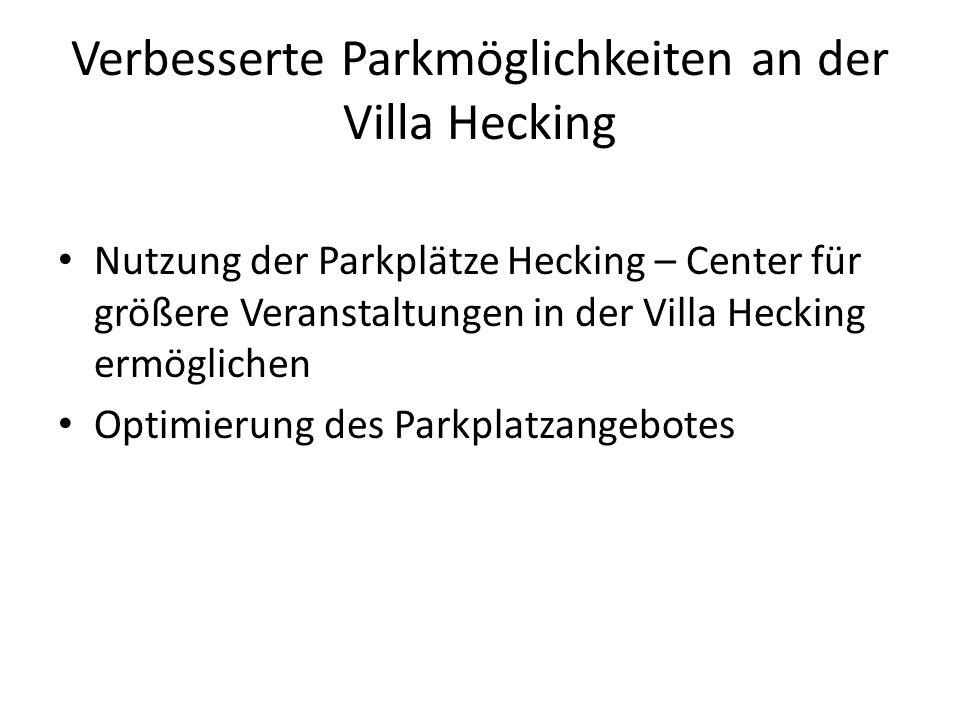 Verbesserte Parkmöglichkeiten an der Villa Hecking Nutzung der Parkplätze Hecking – Center für größere Veranstaltungen in der Villa Hecking ermögliche