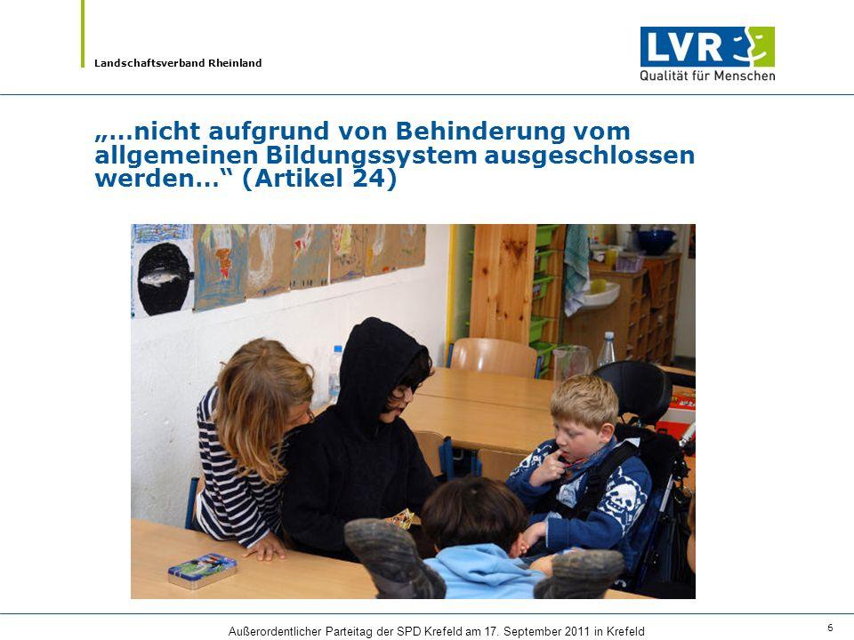 Landschaftsverband Rheinland Außerordentlicher Parteitag der SPD Krefeld am 17. September 2011 in Krefeld 6 …nicht aufgrund von Behinderung vom allgem