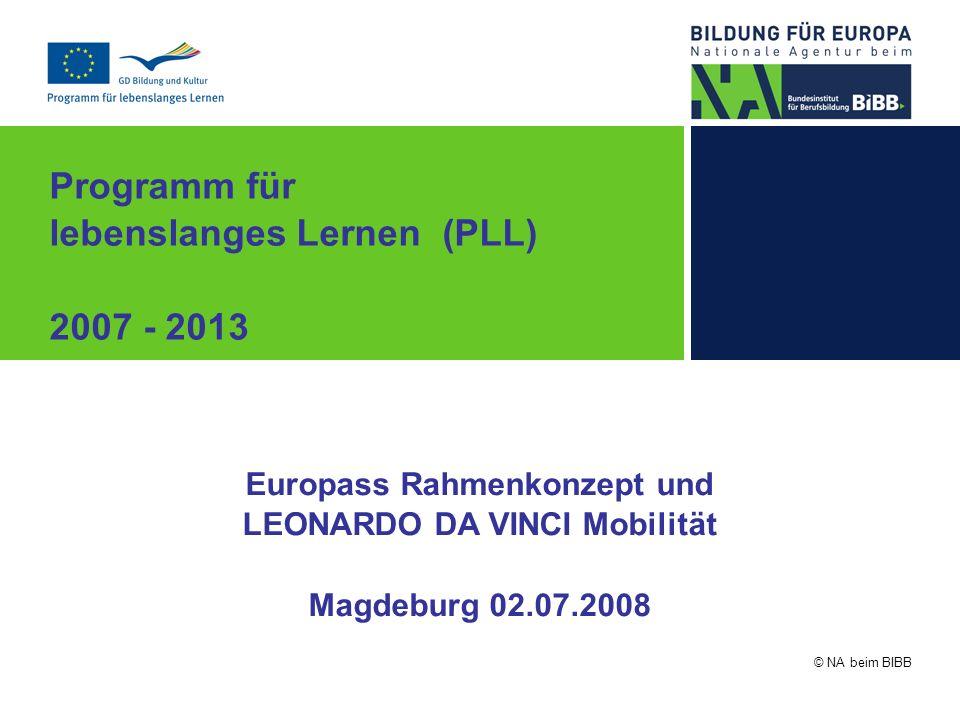 © NA beim BIBB Programm für lebenslanges Lernen (PLL) 2007 - 2013 Europass Rahmenkonzept und LEONARDO DA VINCI Mobilität Magdeburg 02.07.2008