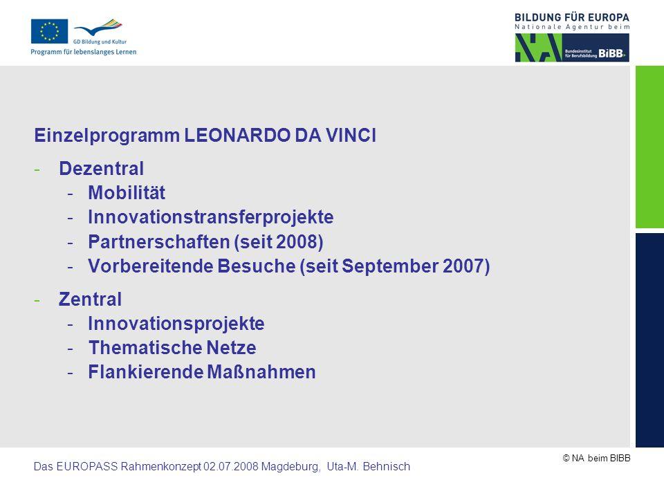© NA beim BIBB Das EUROPASS Rahmenkonzept 02.07.2008 Magdeburg, Uta-M.