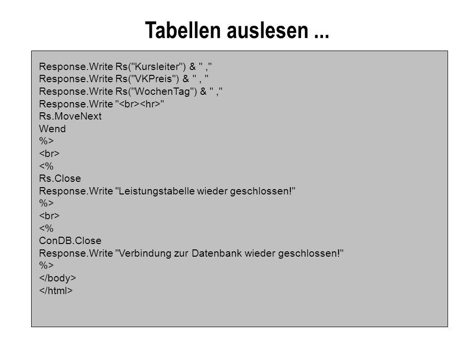 Tabellen auslesen...