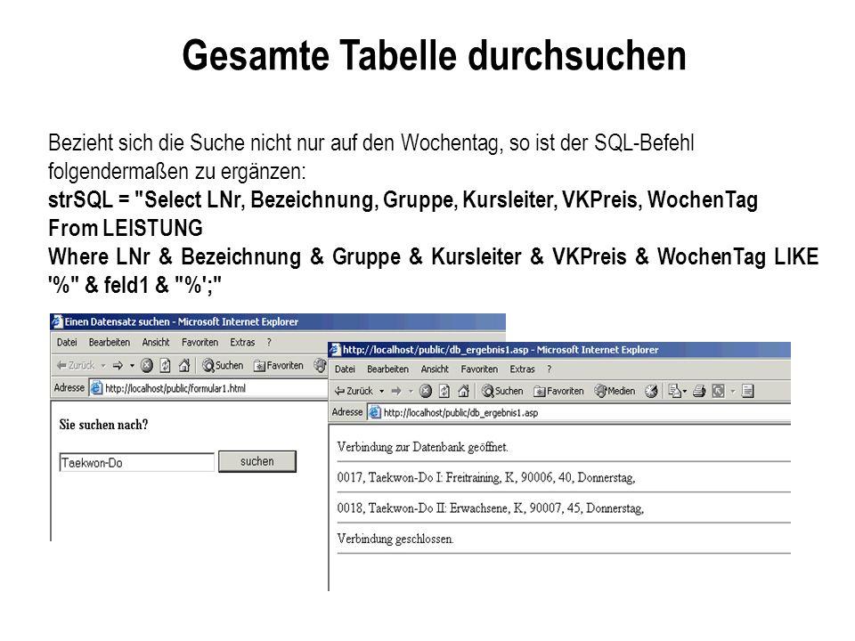 Gesamte Tabelle durchsuchen Bezieht sich die Suche nicht nur auf den Wochentag, so ist der SQL-Befehl folgendermaßen zu ergänzen: strSQL = Select LNr, Bezeichnung, Gruppe, Kursleiter, VKPreis, WochenTag From LEISTUNG Where LNr & Bezeichnung & Gruppe & Kursleiter & VKPreis & WochenTag LIKE % & feld1 & % ;