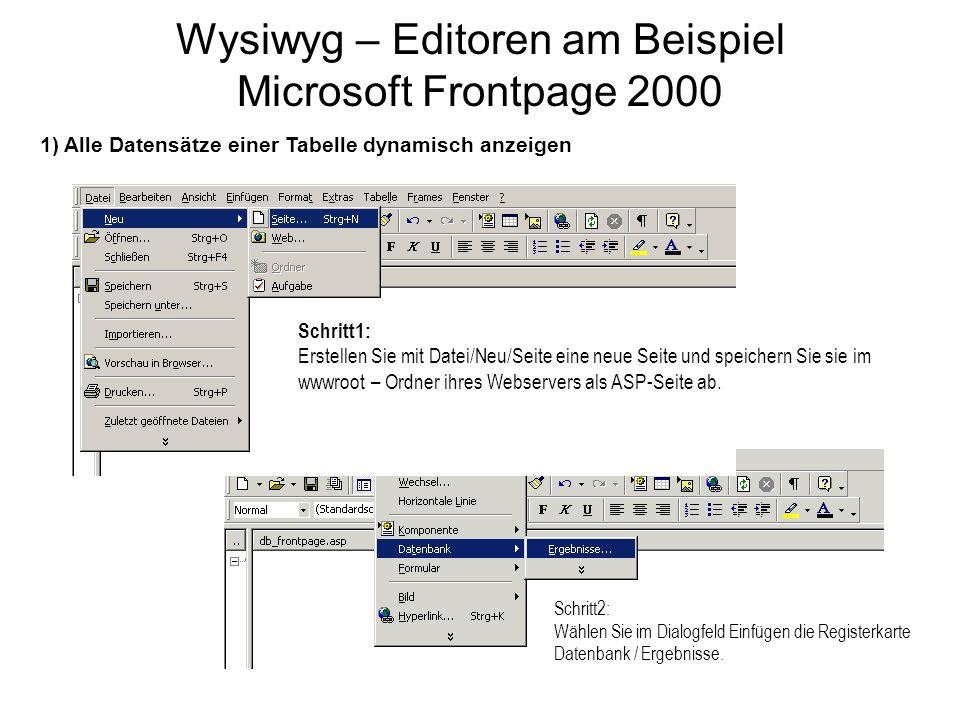 Wysiwyg – Editoren am Beispiel Microsoft Frontpage 2000 Schritt1: Erstellen Sie mit Datei/Neu/Seite eine neue Seite und speichern Sie sie im wwwroot – Ordner ihres Webservers als ASP-Seite ab.