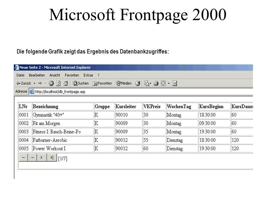 Microsoft Frontpage 2000 Die folgende Grafik zeigt das Ergebnis des Datenbankzugriffes:
