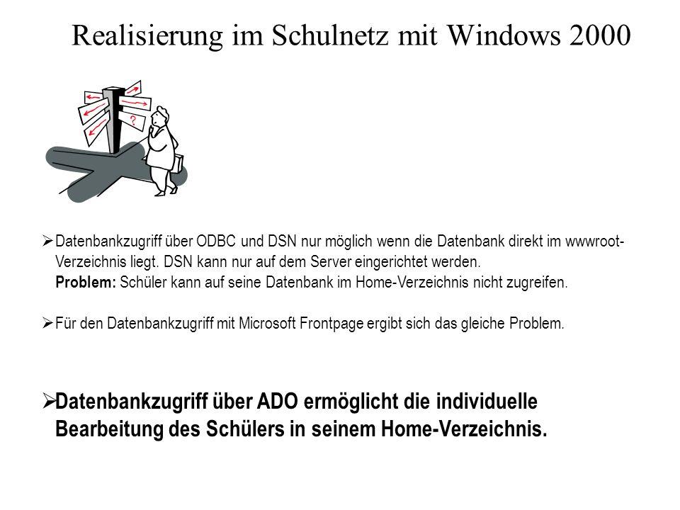 Realisierung im Schulnetz mit Windows 2000 Datenbankzugriff über ODBC und DSN nur möglich wenn die Datenbank direkt im wwwroot- Verzeichnis liegt.