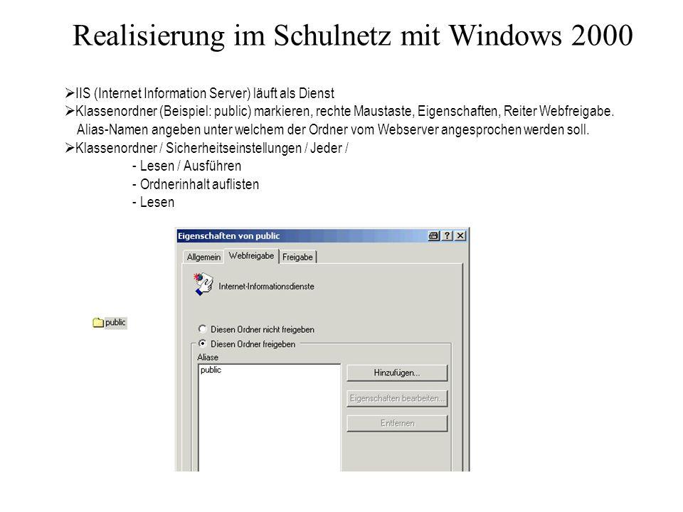 Realisierung im Schulnetz mit Windows 2000 IIS (Internet Information Server) läuft als Dienst Klassenordner (Beispiel: public) markieren, rechte Maustaste, Eigenschaften, Reiter Webfreigabe.