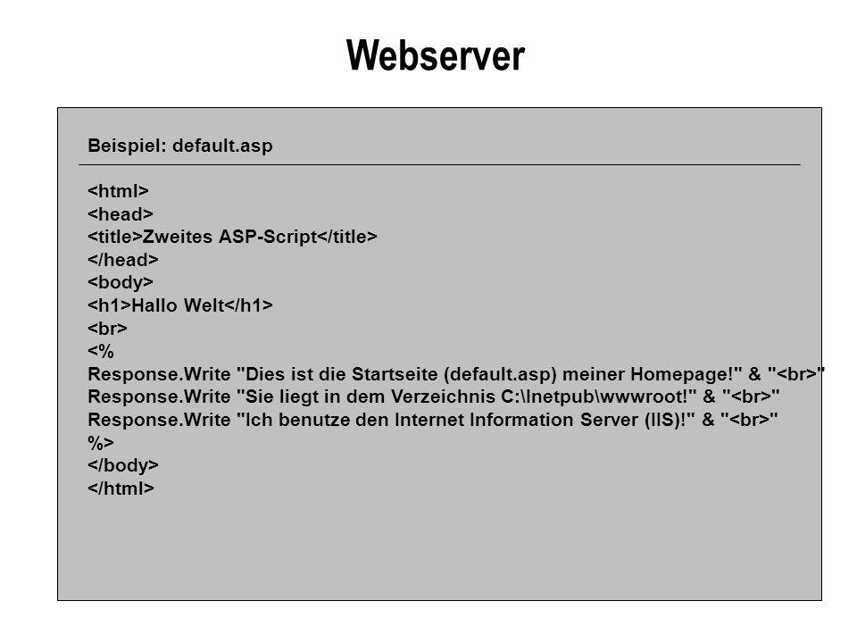 Webserver Beispiel: default.asp Zweites ASP-Script Hallo Welt <% Response.Write Dies ist die Startseite (default.asp) meiner Homepage! & Response.Write Sie liegt in dem Verzeichnis C:\Inetpub\wwwroot! & Response.Write Ich benutze den Internet Information Server (IIS)! & %>