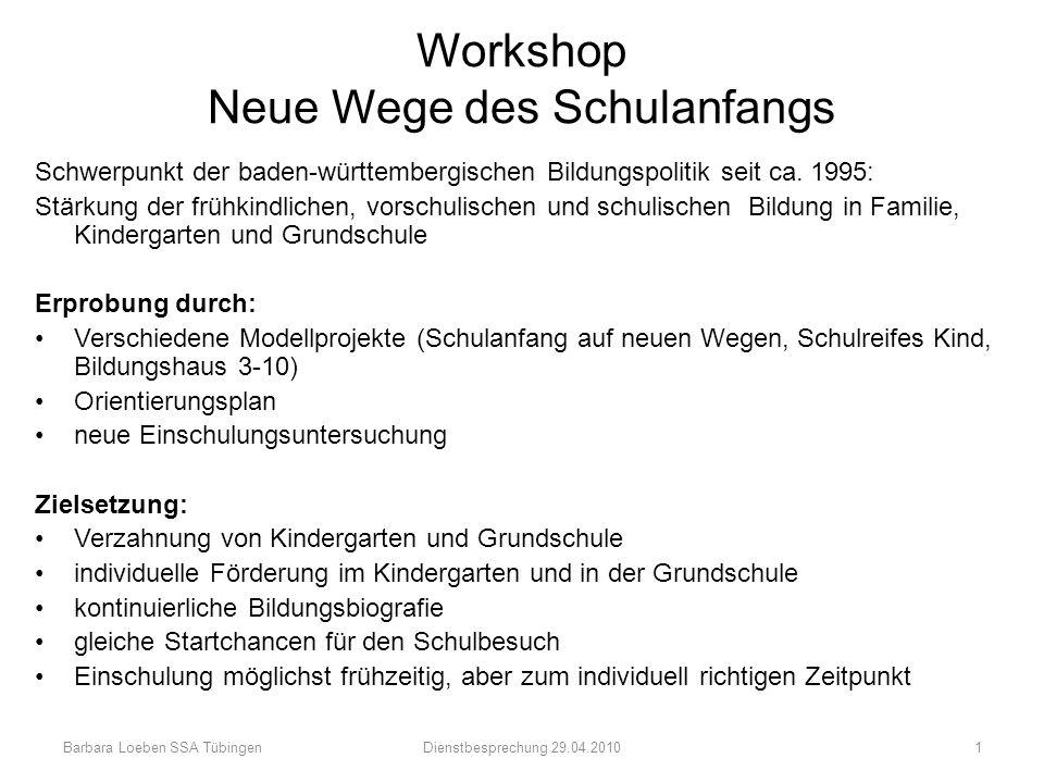 Workshop Neue Wege des Schulanfangs Schwerpunkt der baden-württembergischen Bildungspolitik seit ca. 1995: Stärkung der frühkindlichen, vorschulischen