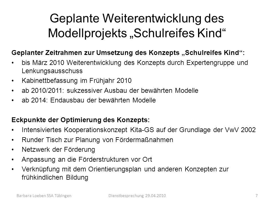 Geplante Weiterentwicklung des Modellprojekts Schulreifes Kind Geplanter Zeitrahmen zur Umsetzung des Konzepts Schulreifes Kind: bis März 2010 Weitere