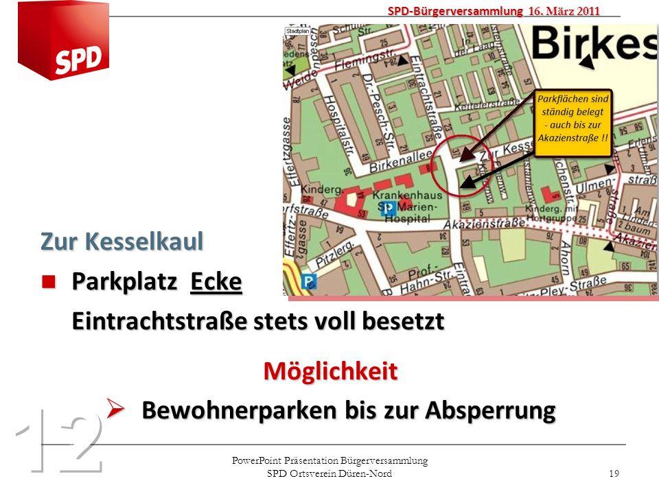 PowerPoint Präsentation Bürgerversammlung SPD Ortsverein Düren-Nord 19 Zur Kesselkaul Parkplatz Ecke Parkplatz Ecke Eintrachtstraße stets voll besetzt
