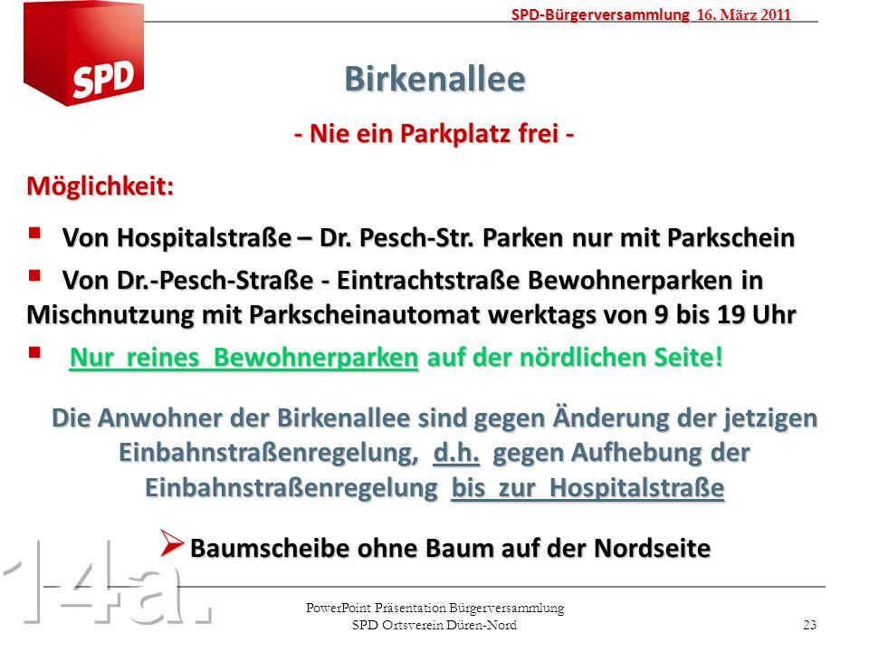 PowerPoint Präsentation Bürgerversammlung SPD Ortsverein Düren-Nord 23 SPD-Bürgerversammlung 16. März 2011 Birkenallee - Nie ein Parkplatz frei - Mögl