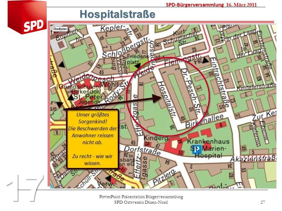 PowerPoint Präsentation Bürgerversammlung SPD Ortsverein Düren-Nord 27 SPD-Bürgerversammlung 16. März 2011 Hospitalstraße