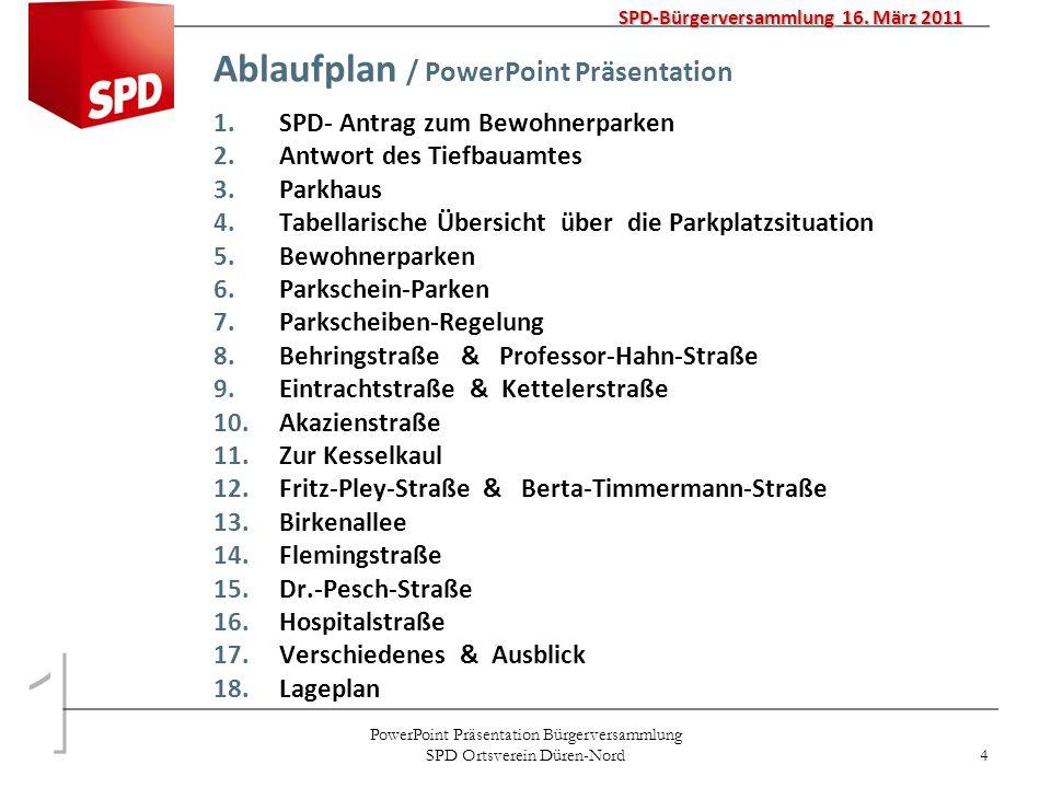 PowerPoint Präsentation Bürgerversammlung SPD Ortsverein Düren-Nord 4 Ablaufplan / PowerPoint Präsentation 1.SPD- Antrag zum Bewohnerparken 2.Antwort