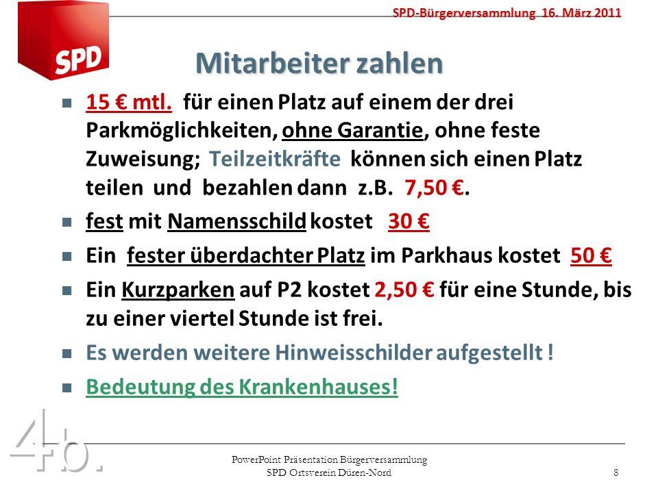 PowerPoint Präsentation Bürgerversammlung SPD Ortsverein Düren-Nord 8 Mitarbeiter zahlen Mitarbeiter zahlen 15 mtl. für einen Platz auf einem der drei