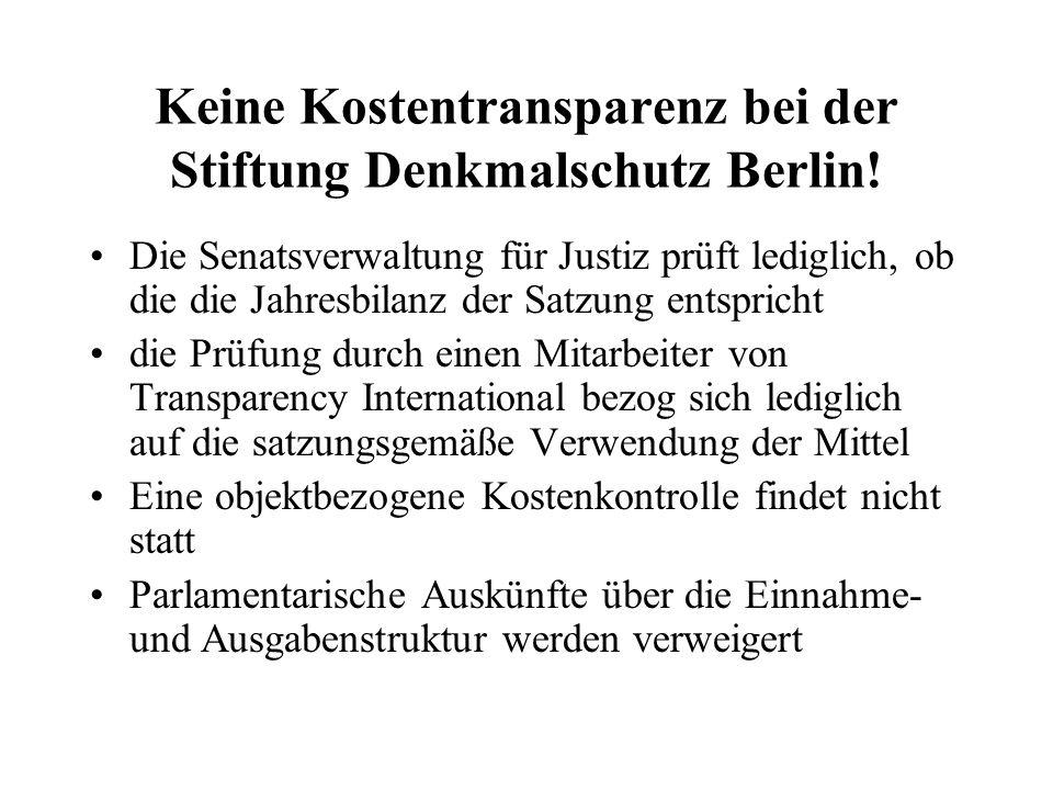 Keine Kostentransparenz bei der Stiftung Denkmalschutz Berlin! Die Senatsverwaltung für Justiz prüft lediglich, ob die die Jahresbilanz der Satzung en