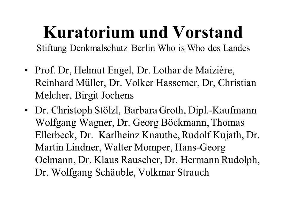 Kuratorium und Vorstand Stiftung Denkmalschutz Berlin Who is Who des Landes Prof. Dr, Helmut Engel, Dr. Lothar de Maizière, Reinhard Müller, Dr. Volke