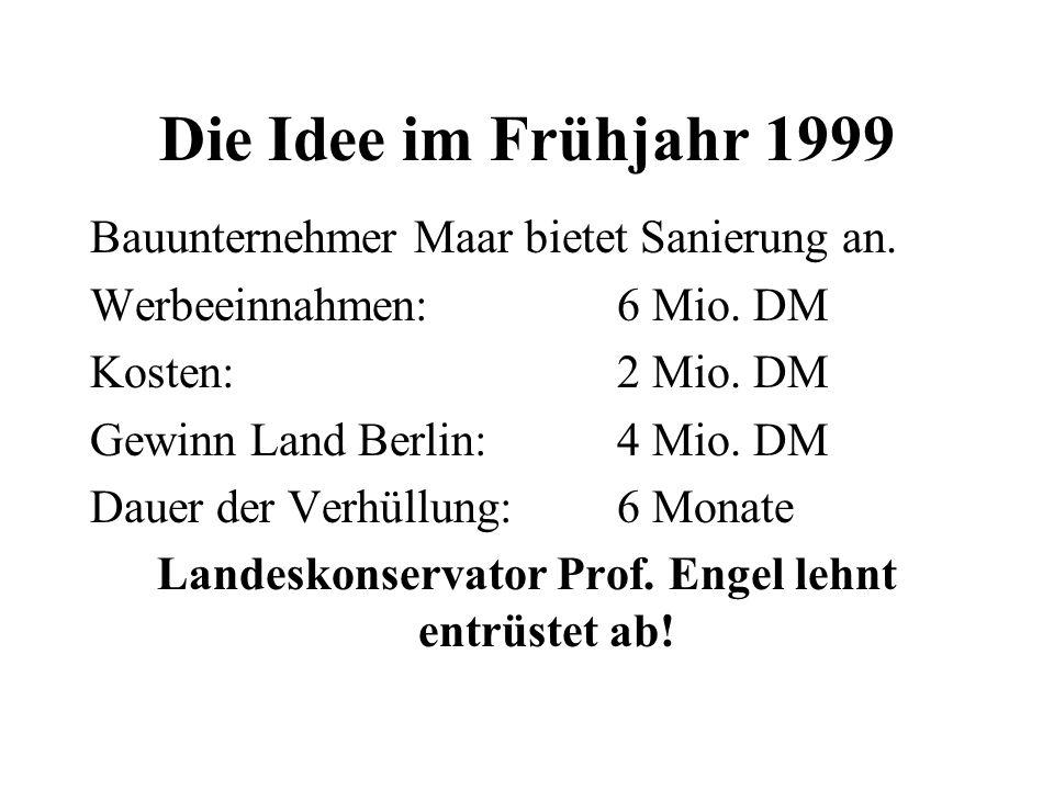 Die Idee im Frühjahr 1999 Bauunternehmer Maar bietet Sanierung an. Werbeeinnahmen: 6 Mio. DM Kosten: 2 Mio. DM Gewinn Land Berlin: 4 Mio. DM Dauer der
