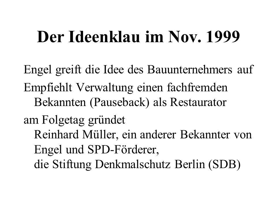 Der Ideenklau im Nov. 1999 Engel greift die Idee des Bauunternehmers auf Empfiehlt Verwaltung einen fachfremden Bekannten (Pauseback) als Restaurator