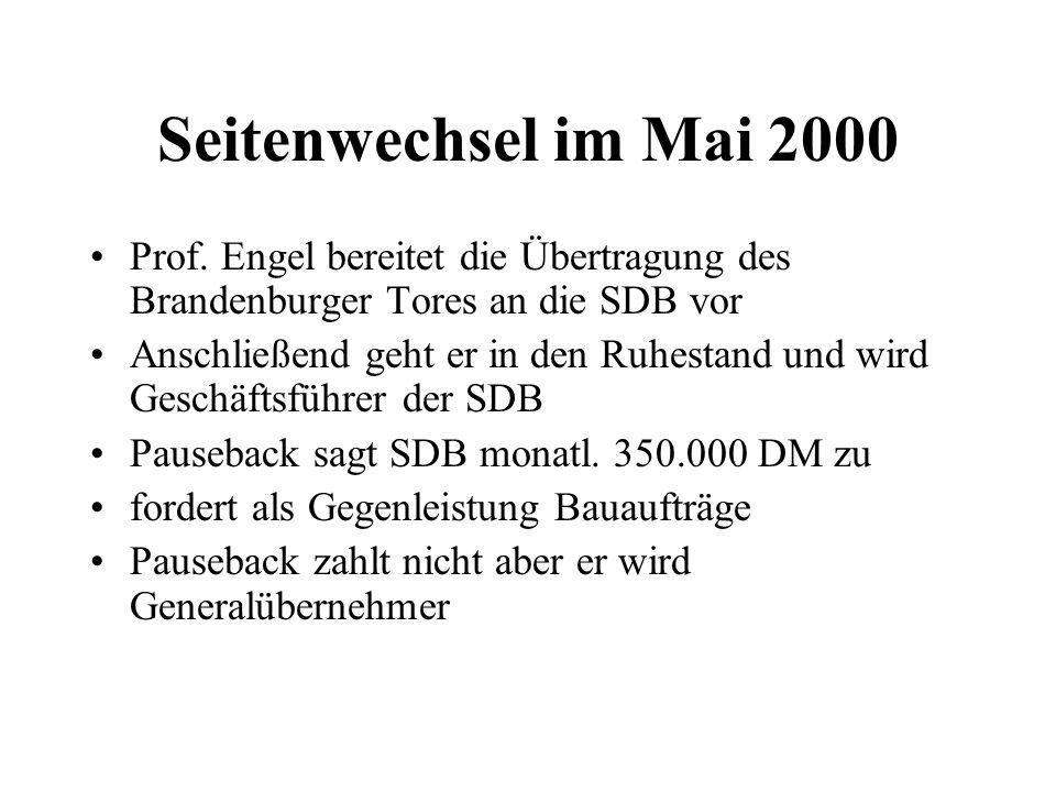 Seitenwechsel im Mai 2000 Prof. Engel bereitet die Übertragung des Brandenburger Tores an die SDB vor Anschließend geht er in den Ruhestand und wird G