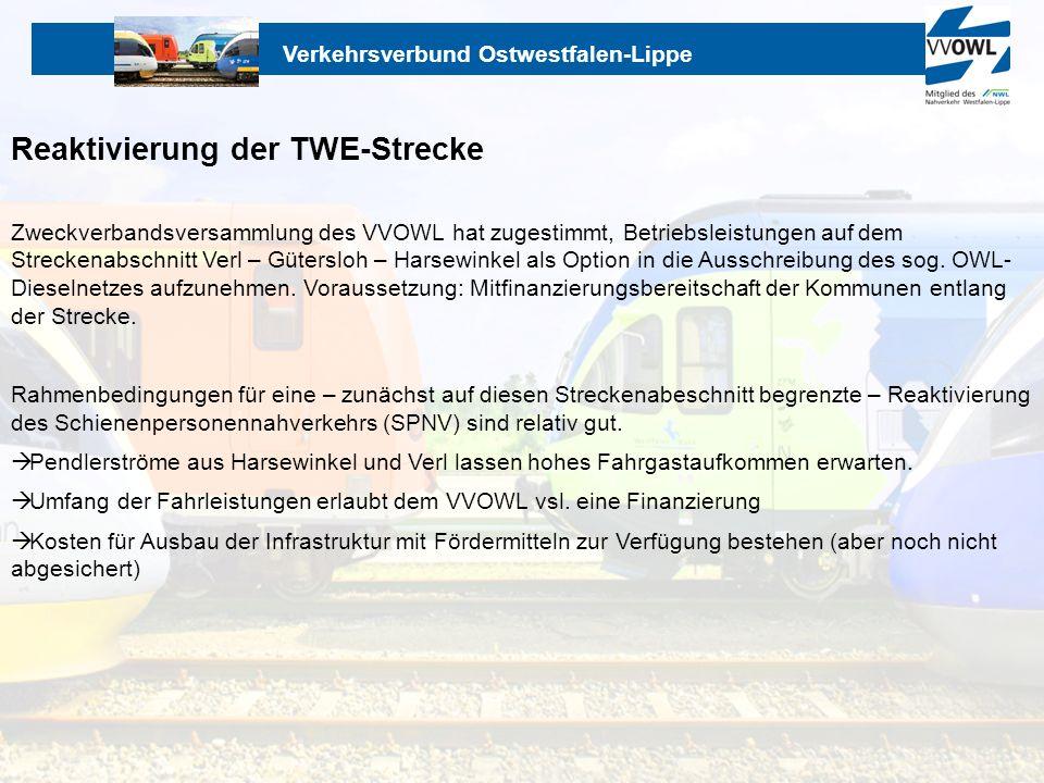 Verkehrsverbund Ostwestfalen-Lippe Reaktivierung der TWE-Strecke Zweckverbandsversammlung des VVOWL hat zugestimmt, Betriebsleistungen auf dem Strecke