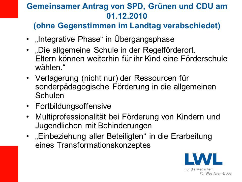 Gemeinsamer Antrag von SPD, Grünen und CDU am 01.12.2010 (ohne Gegenstimmen im Landtag verabschiedet) Integrative Phase in Übergangsphase Die allgemei