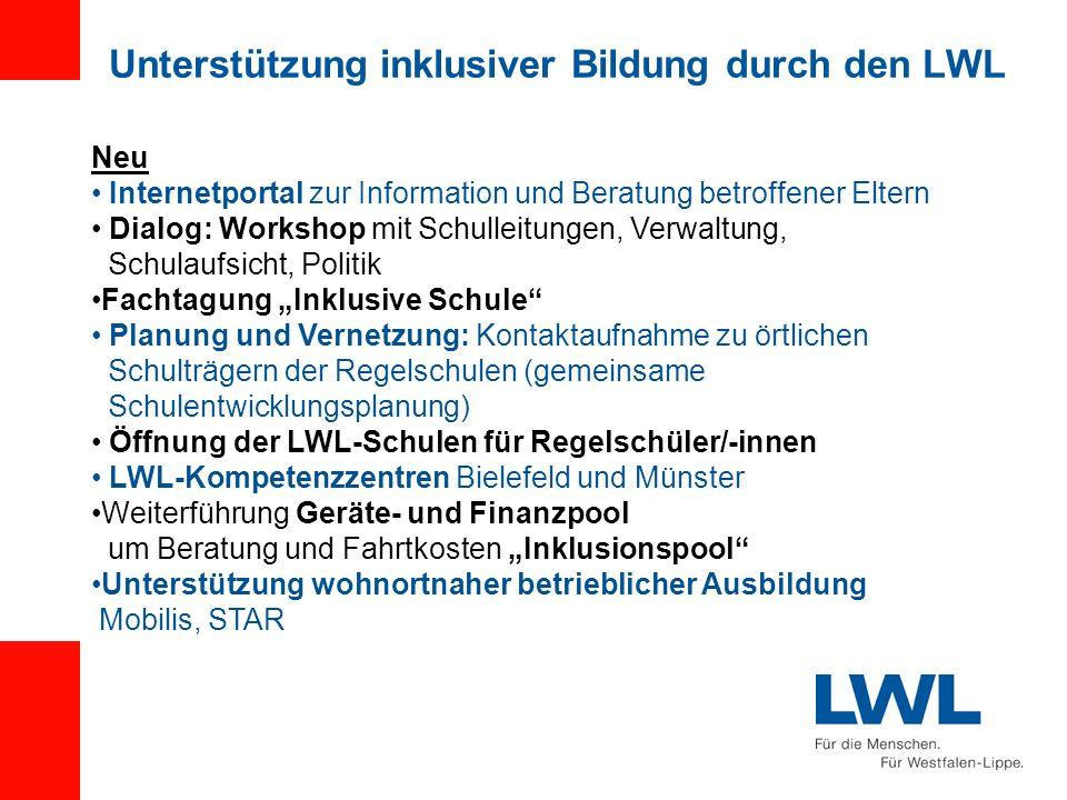 Unterstützung inklusiver Bildung durch den LWL Neu Internetportal zur Information und Beratung betroffener Eltern Dialog: Workshop mit Schulleitungen,