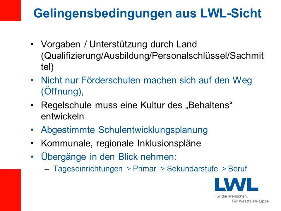 Gelingensbedingungen aus LWL-Sicht Vorgaben / Unterstützung durch Land (Qualifizierung/Ausbildung/Personalschlüssel/Sachmit tel) Nicht nur Förderschul