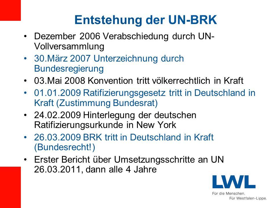 Entstehung der UN-BRK Dezember 2006 Verabschiedung durch UN- Vollversammlung 30.März 2007 Unterzeichnung durch Bundesregierung 03.Mai 2008 Konvention