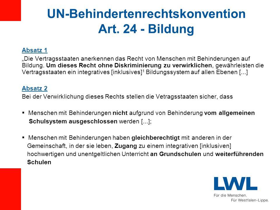 UN-Behindertenrechtskonvention Art. 24 - Bildung Absatz 1 Die Vertragsstaaten anerkennen das Recht von Menschen mit Behinderungen auf Bildung. Um dies