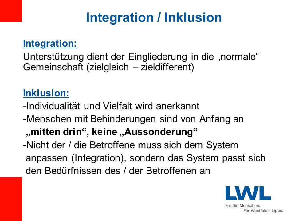 Integration / Inklusion Integration: Unterstützung dient der Eingliederung in die normale Gemeinschaft (zielgleich – zieldifferent) Inklusion: -Indivi
