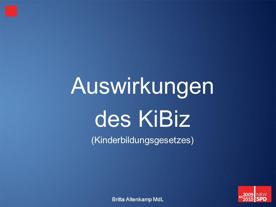 Britta Altenkamp MdL Auswirkungen des KiBiz (Kinderbildungsgesetzes)