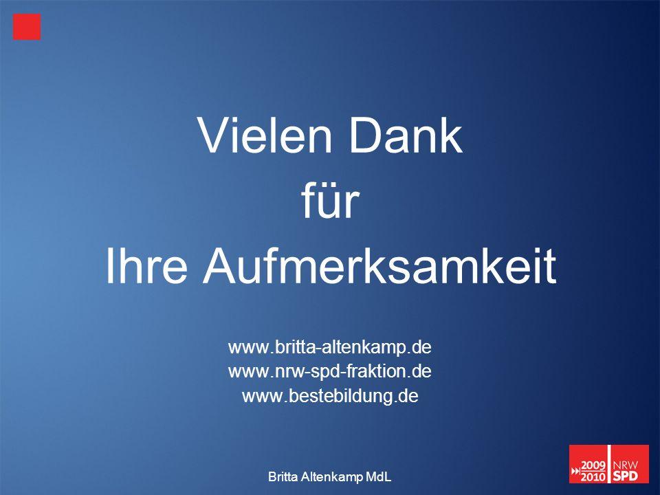 Britta Altenkamp MdL Vielen Dank für Ihre Aufmerksamkeit www.britta-altenkamp.de www.nrw-spd-fraktion.de www.bestebildung.de