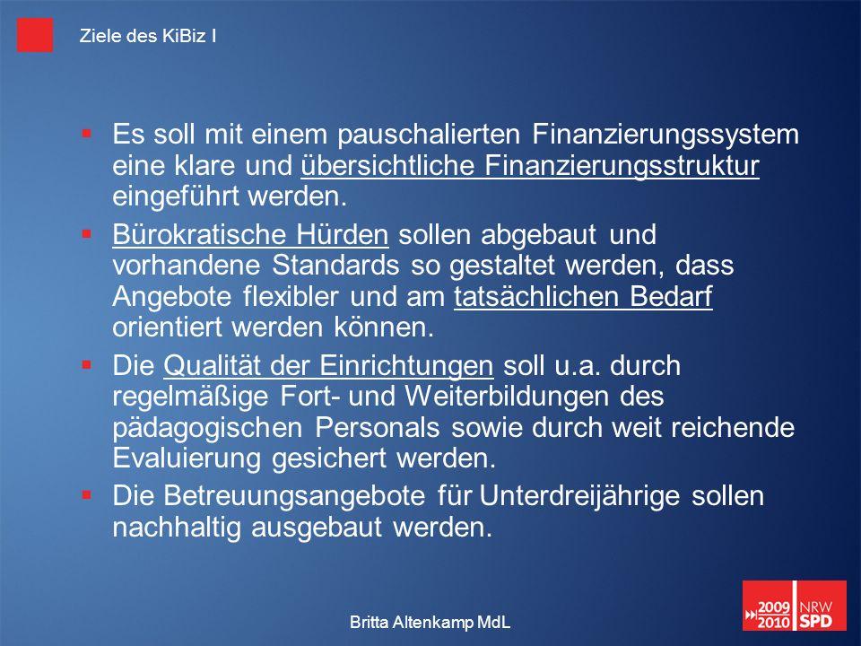 Britta Altenkamp MdL Ziele des KiBiz I Es soll mit einem pauschalierten Finanzierungssystem eine klare und übersichtliche Finanzierungsstruktur eingeführt werden.