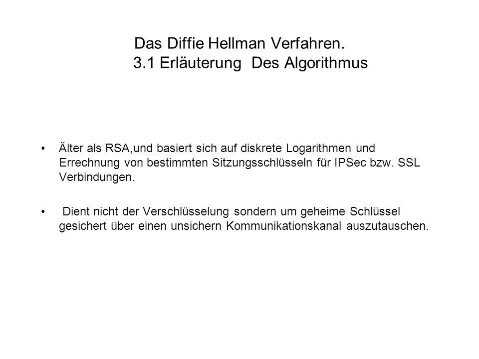 Das Diffie Hellman Verfahren. 3.1 Erläuterung Des Algorithmus Älter als RSA,und basiert sich auf diskrete Logarithmen und Errechnung von bestimmten Si