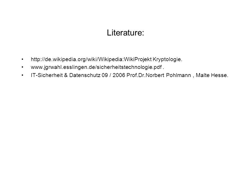 Literature: http://de.wikipedia.org/wiki/Wikipedia:WikiProjekt Kryptologie. www.jgrwahl.esslingen.de/sicherheitstechnologie.pdf. IT-Sicherheit & Daten