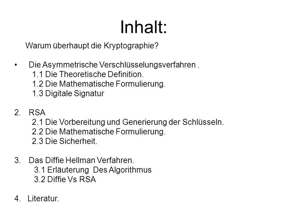 Inhalt: Warum überhaupt die Kryptographie? Die Asymmetrische Verschlüsselungsverfahren. 1.1 Die Theoretische Definition. 1.2 Die Mathematische Formuli