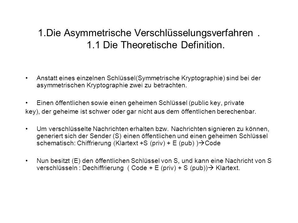 1.Die Asymmetrische Verschlüsselungsverfahren. 1.1 Die Theoretische Definition. Anstatt eines einzelnen Schlüssel(Symmetrische Kryptographie) sind bei