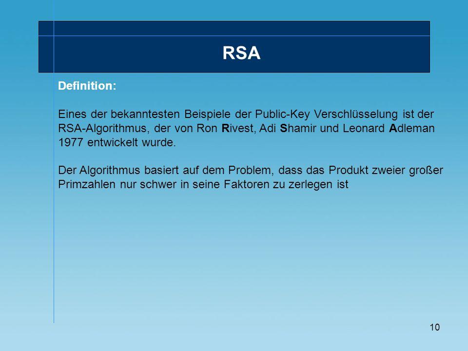 10 Definition: Eines der bekanntesten Beispiele der Public-Key Verschlüsselung ist der RSA-Algorithmus, der von Ron Rivest, Adi Shamir und Leonard Adl