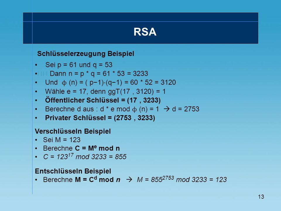 13 RSA Schlüsselerzeugung Beispiel Sei p = 61 und q = 53 Verschlüsseln Beispiel Sei M = 123 Berechne C = M e mod n C = 123 17 mod 3233 = 855 Dann n =