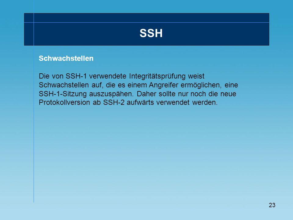 23 SSH Schwachstellen Die von SSH-1 verwendete Integritätsprüfung weist Schwachstellen auf, die es einem Angreifer ermöglichen, eine SSH-1-Sitzung aus