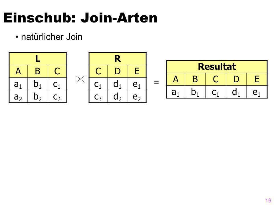 16 Einschub: Join-Arten natürlicher Join L ABC a1a1 b1b1 c1c1 a2a2 b2b2 c2c2 R CDE c1c1 d1d1 e1e1 c3c3 d2d2 e2e2 = Resultat ABCDE a1a1 b1b1 c1c1 d1d1 e1e1