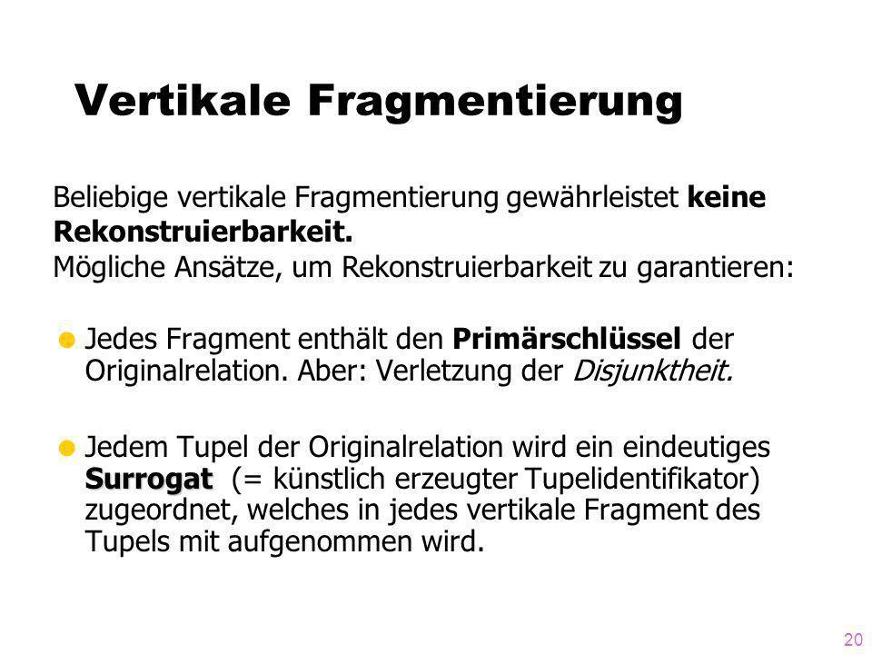 20 Vertikale Fragmentierung Jedes Fragment enthält den Primärschlüssel der Originalrelation. Aber: Verletzung der Disjunktheit. Surrogat Jedem Tupel d