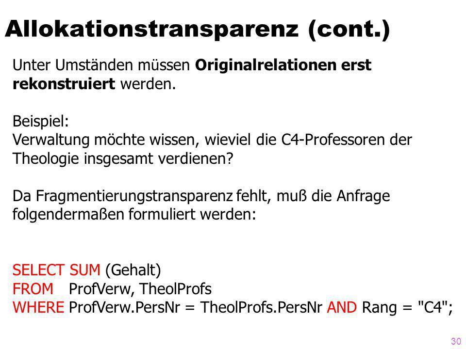 30 Allokationstransparenz (cont.) Unter Umständen m ü ssen Originalrelationen erst rekonstruiert werden.