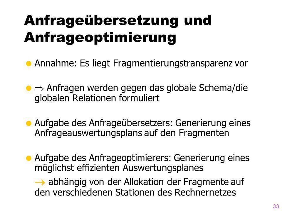 33 Anfrageübersetzung und Anfrageoptimierung Annahme: Es liegt Fragmentierungstransparenz vor Anfragen werden gegen das globale Schema/die globalen Re